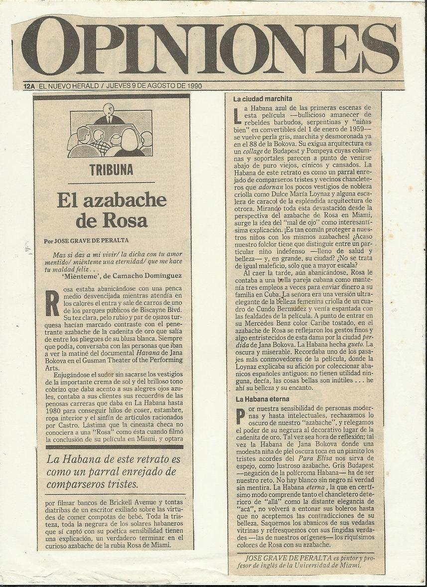 El Azabache de Rosa MIAMI HERALD 1990.jp
