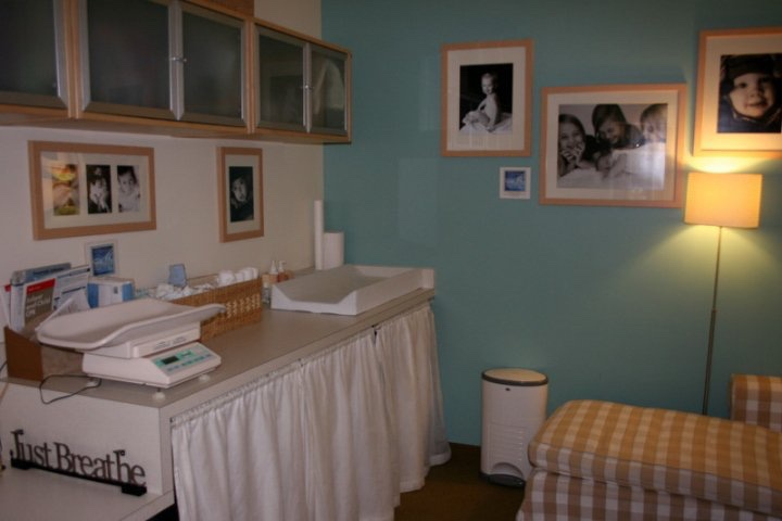 This is another view of the consultation room, where the scale sat, and where moms changed diapers. I kept the lights low to promote calmness, plus the babies didn't like bright lights.