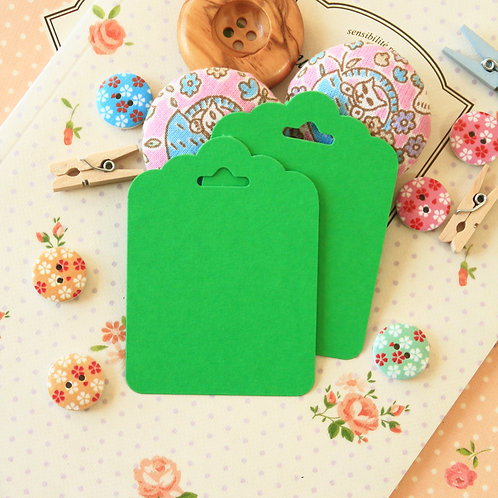 spring green ornate scallop tags