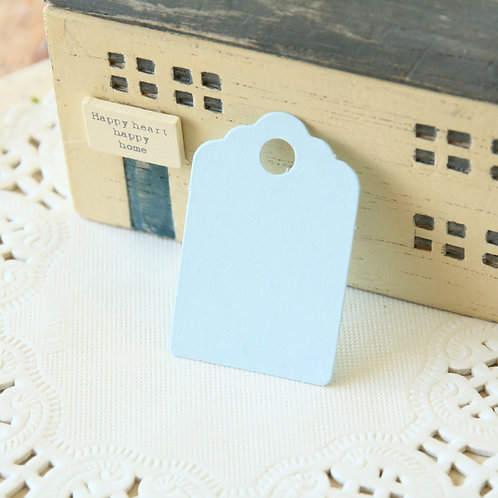 pale blue scallop swing tags
