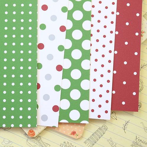 set 02 christmas polka dots printed card stock