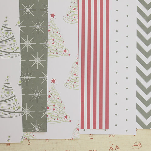 set 02 be merry mix christmas patterns printed card stock