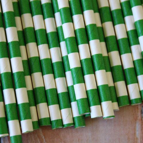 kelly green circle stripe paper straws