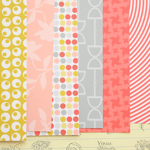 set 02 red & yellow mix patterns printed card stock