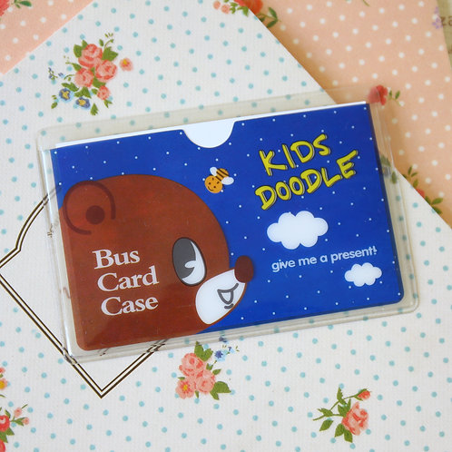kids doodle blue cartoon card pocket holder