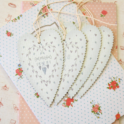 east of india large pinted heart gift tags