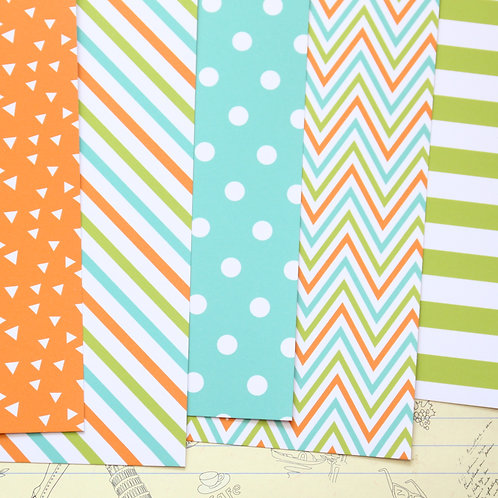 set 01 orange lime and blue printed card stock