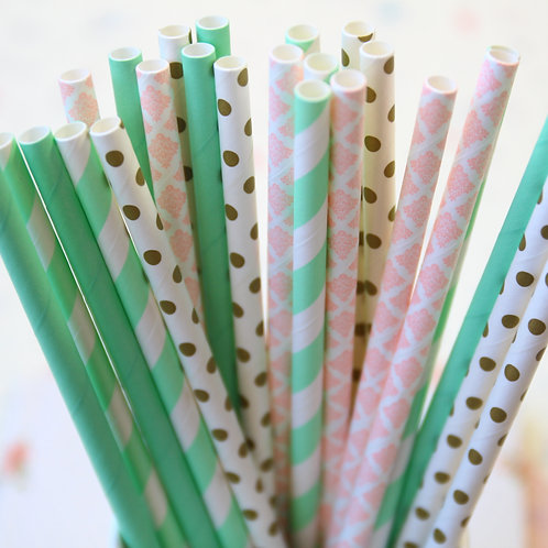minty goodness mix paper straws