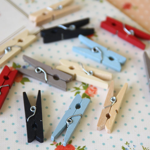 east of india mini wooden pegs clips