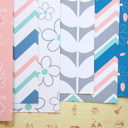 set 01 pink & blue spring flowers mix printed card stock