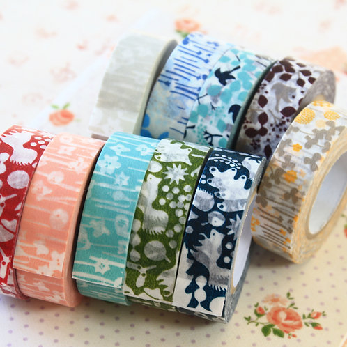 classiky flowers & animals masking paper tape