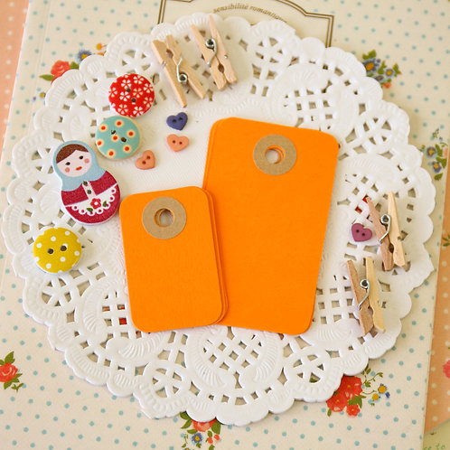 pumpkin orange rounded rectangle tags