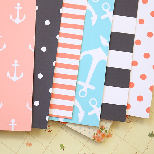 set 02 coastal anchors mix printed card stock