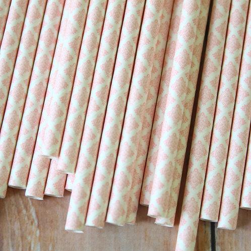 light pink damask paper straws