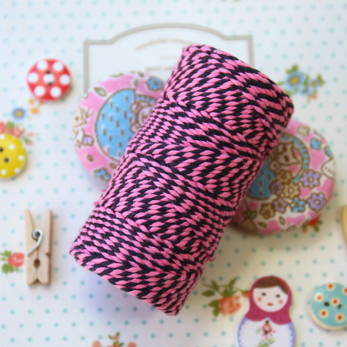 pink & black two tone everlasto bakers twine 20m