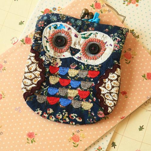 priscilla ditsy owl vintage floral clasp purse