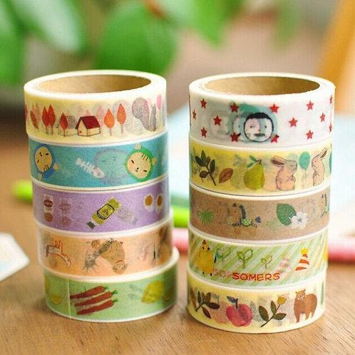 floral mood cartoon deco washi tapes