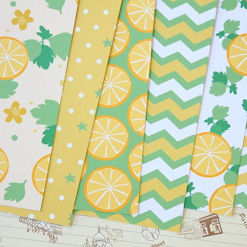 set 02 lemon lime summer printed card stock