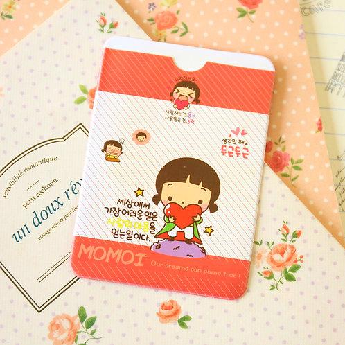 heart momoi girl cartoon card holder