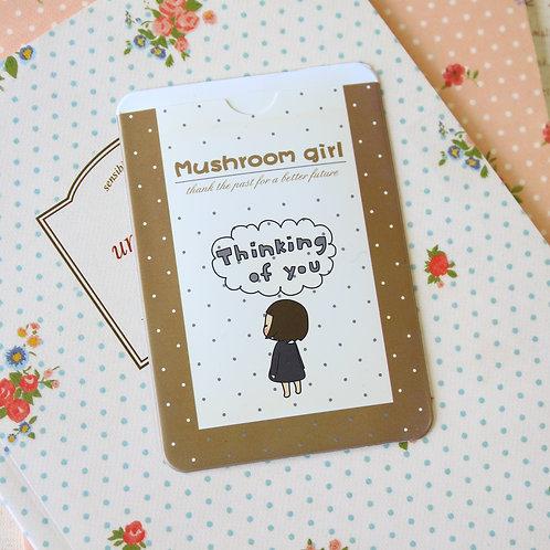 thinking mushroom girl cartoon card holder