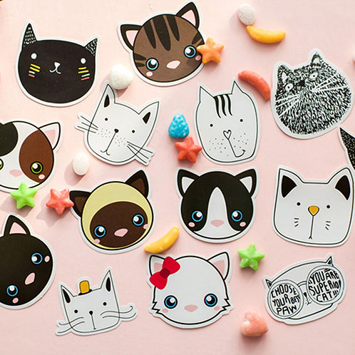 cats faces shapes cartoon stickers