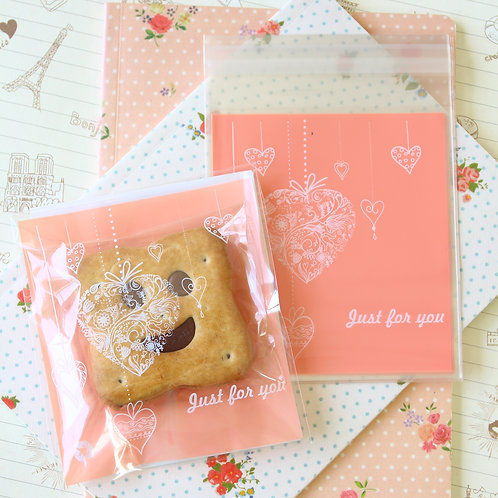 just for your pink hearts cartoon cello bags