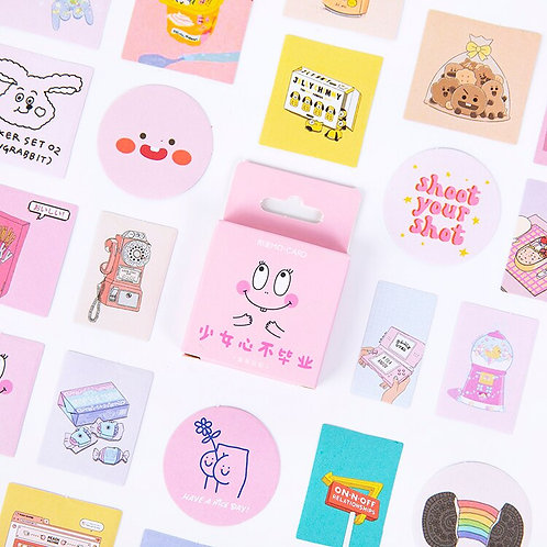 pink face life adventure mo-card cartoon shapes stickers