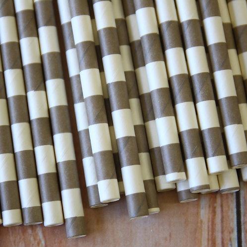 grey circle stripe paper straws