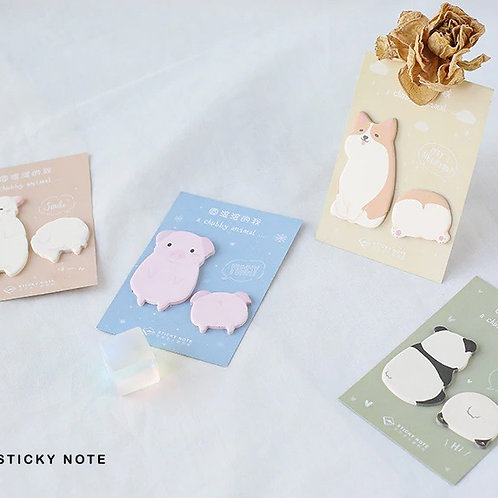 chubby animal cartoon shapes sticky notes
