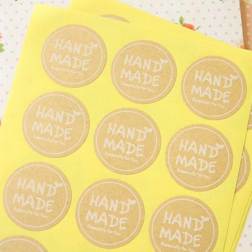 round handmade kraft brown sticker seals