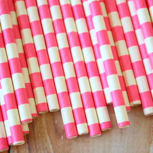 hot pink circle stripe paper straws