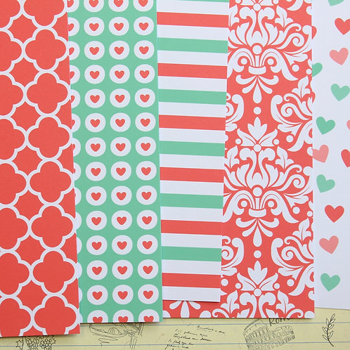 set 01 coral mint mix printed card stock