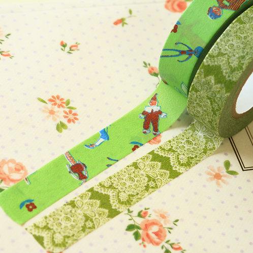 green classiky yonagado cartoon washi tapes