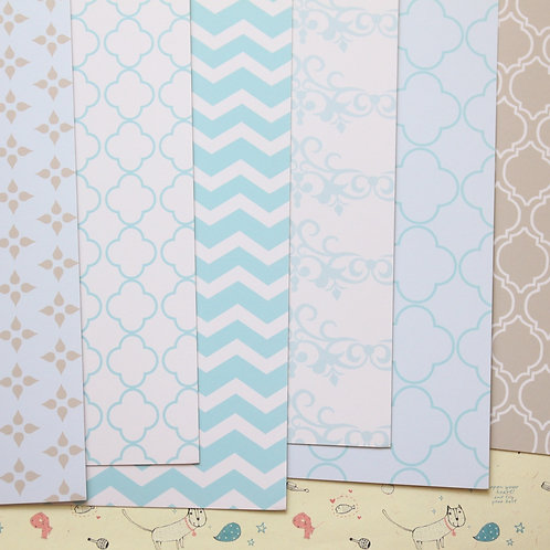 set 01 baby blue and grey printed card stock