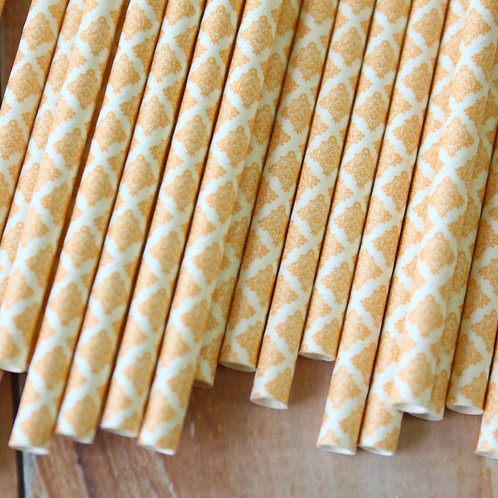 peach damask paper straws