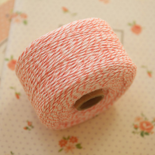 salmon pink twisted cotton bakers twine 200m