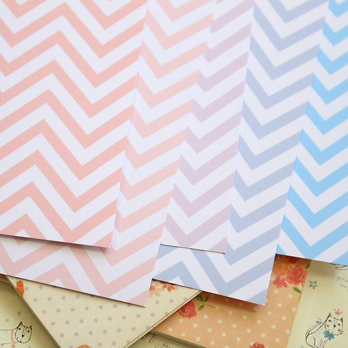 set 02 pastel chevron mix printed card stock