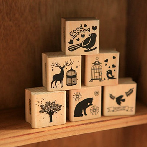 happy mori cartoon rubber stamps