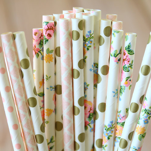 flower burst mix paper straws