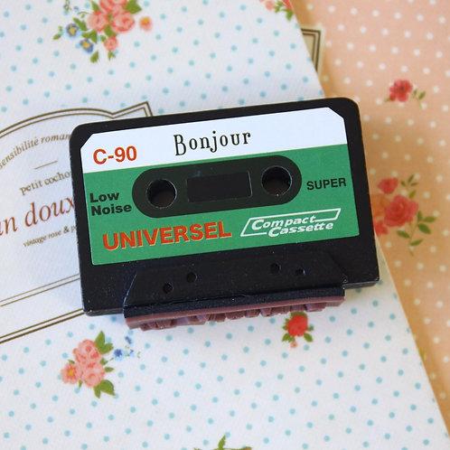 bonjour cassette tape rubber stamp