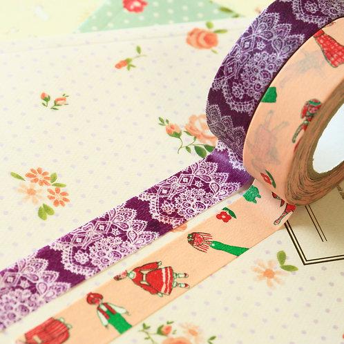 pink & purple classiky yonagado cartoon washi tapes