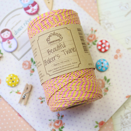 pink yellow - mothers day everlasto two tone bakers twine