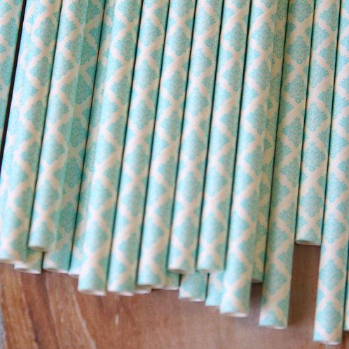 light blue damask paper straws