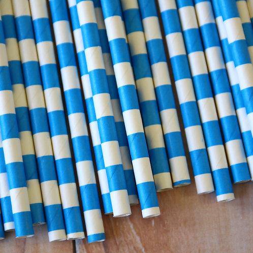 malibu blue cirle stripe paper straws