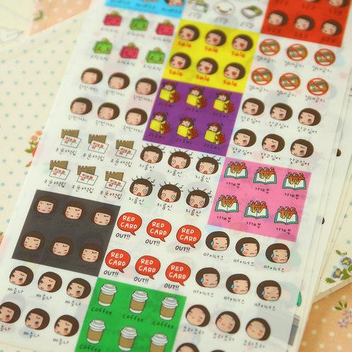 cartoon little girl stickers set