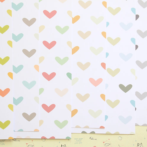 set 01 multi colored hearts printed card stock