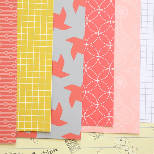 set 01 red & yellow mix patterns printed card stock