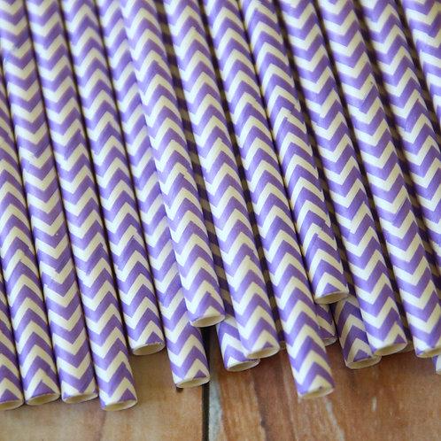 lilac chevron paper straws