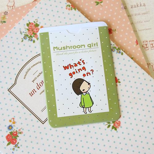 what's going on mushroom girl cartoon card holder