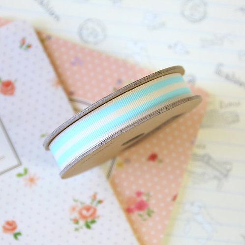 jane means duck egg blue stripe grosgrain ribbon